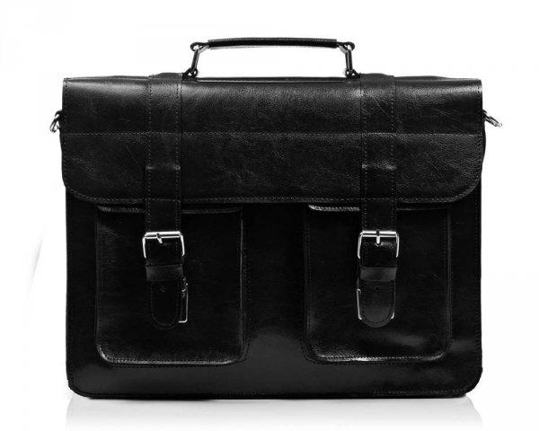 Skórzana męska torba na ramię Solome Lago 02 czarna błyszcząca przód