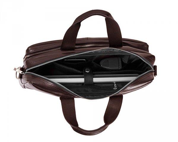 Skórzana torba na laptop Solome premier brązowa środek