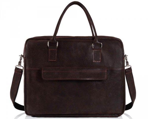 Skórzana torba męska na laptop Solome Alston brązowa przód