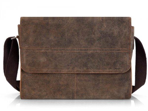 Skórzana torba męska na ramię Solome Blackrock brązowa vintage przód