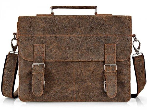 Skórzana męska torba na ramię Solome Lago 03 brązowa vintage przód