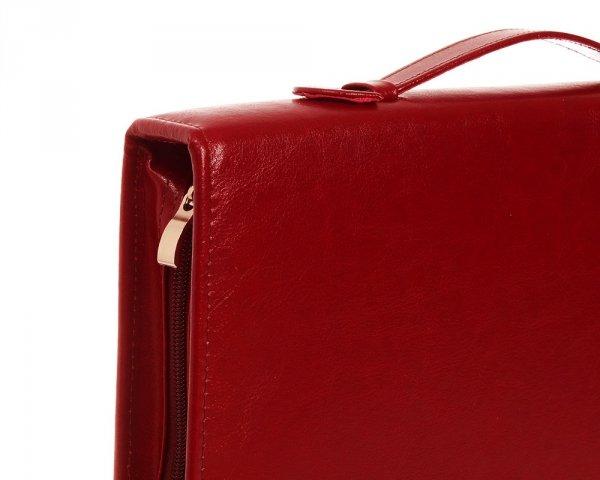 Skórzany biwuar teczka czerwona Solome Lw01 detal