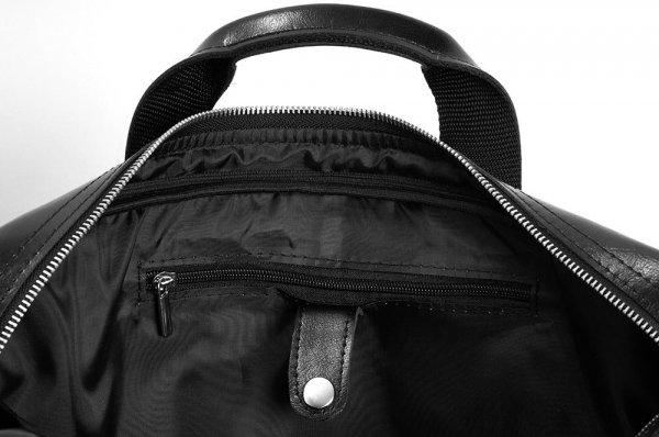 Skórzana torba na laptop Solome premier czarna detal
