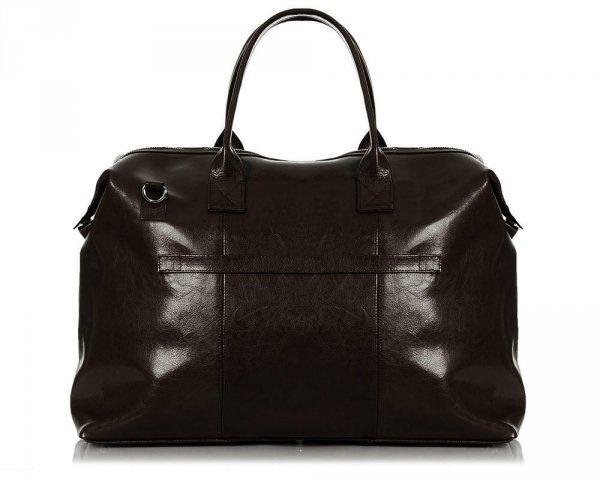 Skórzana torba podróżna weekendowa solome premier brązowa tył