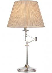 NIKLOWANA LAMPA STOŁOWA Z BEŻOWYM ABAŻUREM STANFORD NICKEL 63651 ENDON INTERIORS 1900 STYLOWA LAMPA NOCNA Z RUCHOMYM RAMIENIEM PAŁACOWY STYL CHROM GLAMOUR