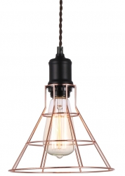 MIEDZIANA LAMPA WISZĄCA VINTAGE ITALUX PERIFO MDM-2265/1 BK+COP