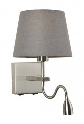 NIKLOWANY KINKIET HOTELOWY Z SZARYM ABAŻUREM ITALUX NORTE WL-1122-2-BL-SN-RO-GR NOWOCZESNY Z LAMPKĄ LED DO CZYTANIA