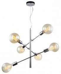 INDUSTRIANA CHROMOWA LAMPA WISZĄCA DO SALONU VINTAGE ITALUX MADALYN MDM3582/6 CH LAMPA STICKS MOLEKULARNA