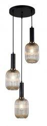 NOWOCZESNA SZKLANA LAMPA WISZĄCA ITALUX ANTIOLA PND-5588-3AM-BK+AMB DESIGNERSKA LOFT