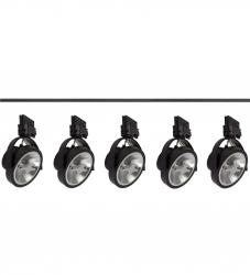 KOMPLETNY ZESTAW SZYNOWY Z REFLEKTORKAMI ES111 W KOLORZE CZARNYM (2m szyny + 5szt. reflektorów)
