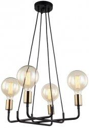 LAMPA WISZĄCA DESIGN ITALUX BETTY MDM-3901/4 BK+BRO CZARNA INDUSTRIALNA