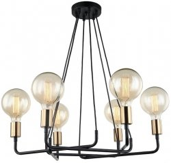 LAMPA WISZĄCA DESIGN ITALUX BETTY MDM-3901/6 BK+BRO CZARNA INDUSTRIALNA