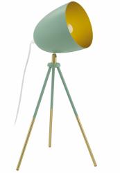 EGLO CHESTER-P 49047 PASTELOWA LAMPA STOŁOWA NOCNA NA TRÓJNOGU ZIELONA VINTAGE LOFT