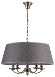 KLASYCZNA LAMPA WISZĄCA Z ABAŻUREM ŻYRANDOL ITALUX ZANOBI PND-43272-5A