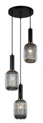 NOWOCZESNA SZKLANA LAMPA WISZĄCA ITALUX ANTIOLA PND-5588-3AM-BK+SG DESIGNERSKA LOFT
