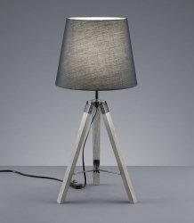 DREWNIANA LAMPA STOŁOWA NA STATYWIE Z ABAŻUREM SZARA LAMPA NA TRÓJNOGU