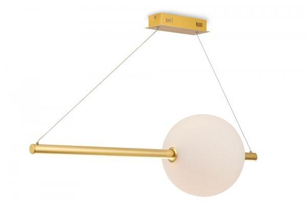 DESIGNERSKA ZŁOTA LAMPA WISZĄCA MAYTONI FRECCIA MOD063PL-L30G3K BIAŁA SZKLANA KULA