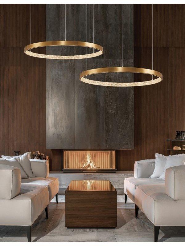 LAMPA WISZĄCA LED W KSZTAŁCIE OKRĘGU 80cm NOWOCZESNA LAMPA KOŁO ANYCZNY MOSIĄDZ