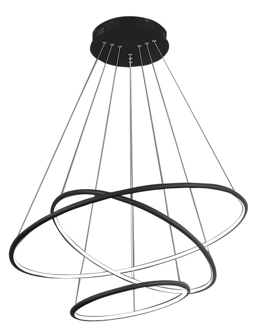 OKRĄGŁA LAMPA WISZĄCA KOŁA MILAGRO ML509 ORION BLACK 99W LED CZARNA BARWA CIEPŁA 3000K