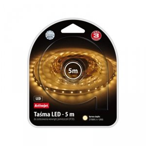 Taśma LED Activejet AJE-LED STRIPE 2700K IP20 (165 lm; Biały ciepły; 5m; 4.8 W; IP20)