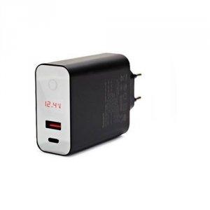 INTELIGENTNA ŁADOWARKA SIECIOWA BASEUS SPEED PPS - USB, USB-C - 45W - CZARNA
