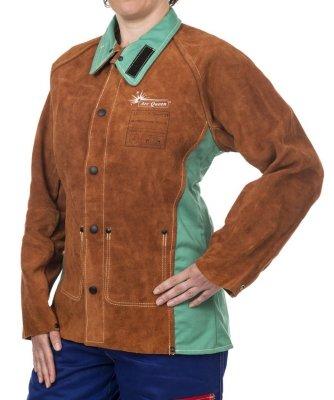 WELDAS-Kurtka spawalnicza dla kobiet z dwoiny bydlęcej z plecami z trudnopalnej bawełny LAVA BROWN ARC QUEEN 44-7300 S/P-AQ