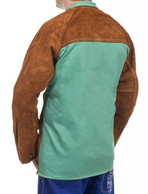 WELDAS-Lava Brown™ skórzana kurtka spawalnicza z dwoiny bydlęcej z plecami z trudnopalnej bawełny 44-7300 XL