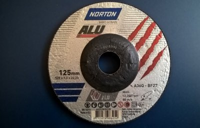 TARCZA DO SZLIFOWANIA ALUMINIUM NORTON 125X7,0