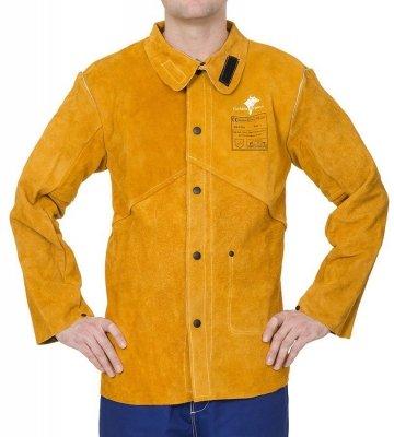 WELDAS-Golden Brown™ skórzana kurtka spawalnicza z dwoiny bydlęcej z plecami z trudnopalnej bawełny 44-2530P/XXL