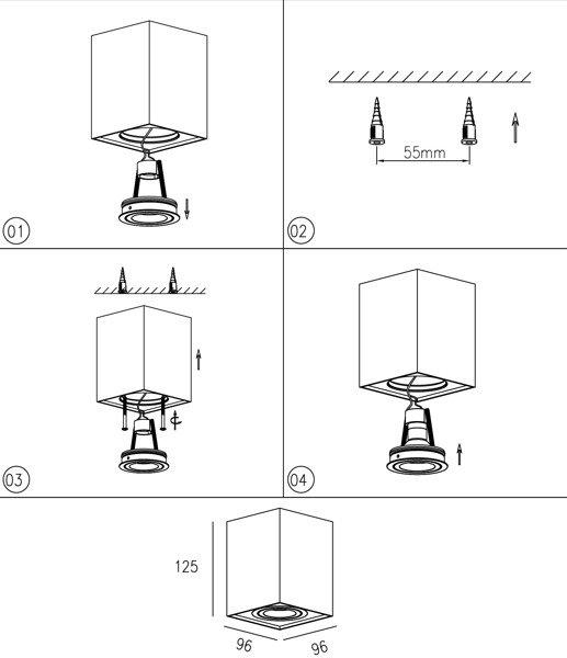 LAMPA NATYNKOWA ZUMA QUADRO 89200-BK