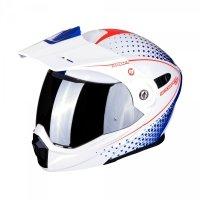 Scorpion ADX-1 HORIZON kask motocyklowy szczękowy z daszkiem Dual Touring Adventure biały-niebieski-cze<br />rwony