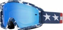 GOGLE FOX MAIN STRIPE WHITE/RED/BLUE - SZYBA BLUE SPARK OS