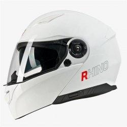 RHINO Highway kask motocyklowy szczękowy biały połysk