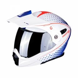 Scorpion ADX-1 HORIZON kask motocyklowy szczękowy z daszkiem Dual Touring Adventure biały-niebieski-czerwony