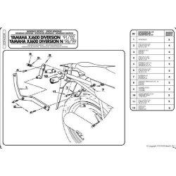 KAPPA  stelaż kufra centralnego Yamaha XJ 600 Diversion (91-03)