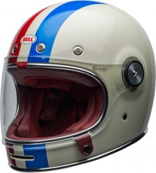 BELL BULLITT KASK MOTOCYKLOWY DLX COMMAND VINTAGE WHITE/RED/BLUE + BON 450 ZŁ
