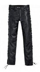 POLO Spirit Motors Biker spodnie motocyklowe skórzane jeansy sznurowane