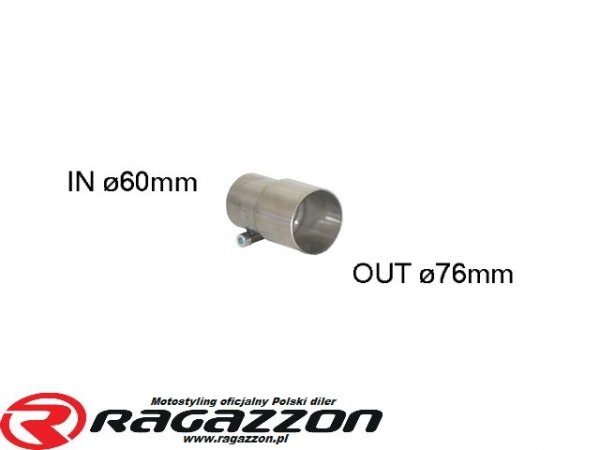 Złączka adapter przejściówka wydechu RAGAZZON 76 mm na 60 mm sportowy wydech