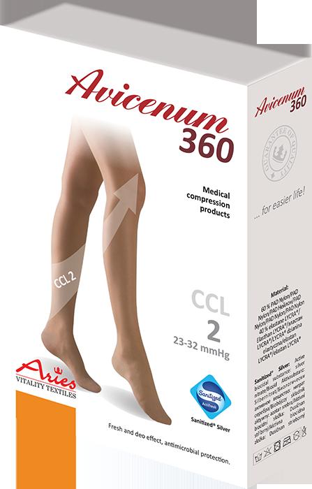 ARIES Pończochy przeciwżylakowe II stopnia ucisku samonośne ze srebrem antybakteryjnym i przeciwgrzybiczym AVICENUM 360 (23-32 mmHg)