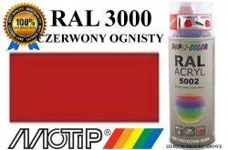 Lakier farba czerwony ognisty połysk 400 ml akrylowy acryl szybkoschnący RAL 3000