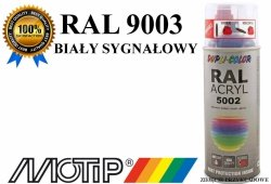MOTIP lakier farba biały sygnałowy połysk 400 ml akrylowy acryl szybkoschnący RAL 9003