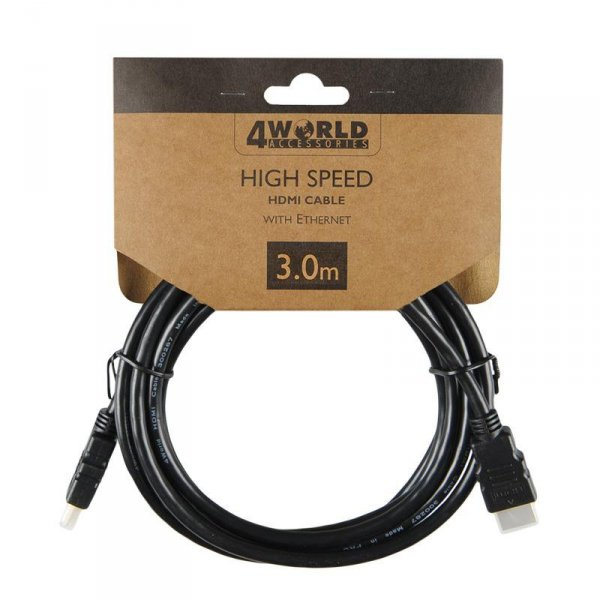 4World Zestaw Kabel HDMI - HDMI, High Speed z Ethernet (v1.4), 3D, HQ, BLK, 3m