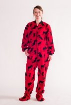 Moose Red Footie - Spací kalhoty – LazyOne