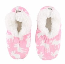 Moose Pink Fuzzy Feet - Papučky - LazyOne
