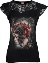 Queen Of The Night - Lace Sleeve Top - Spiral - Damska