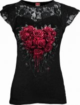 Bleeding Heart - Lace Sleeve Top - Spiral