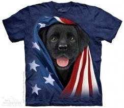 Patriotic Black Lab Pup - The Mountain