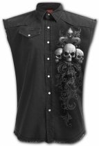Skull Scroll - Bezrękawnik Denim Spiral