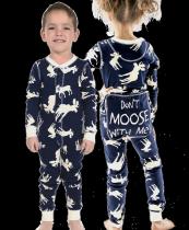 Classic Moose Blue Flapjack - Dziecięca Piżama Pajac - LazyOne