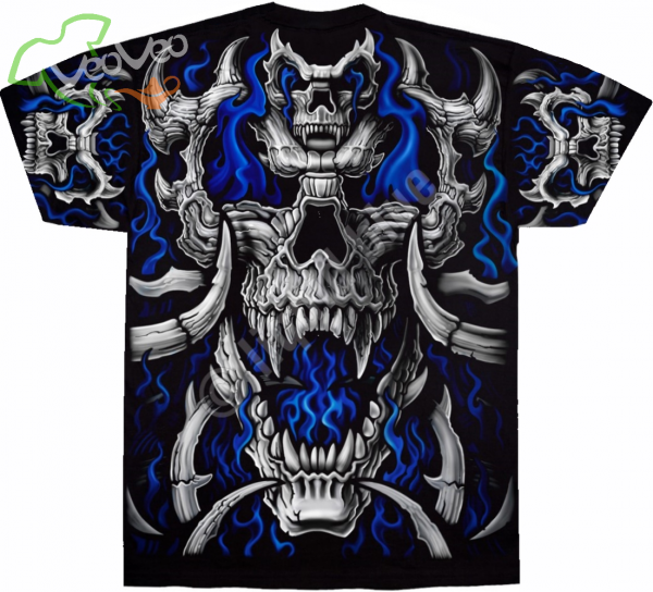 Blue Flame Skull - Liquid Blue